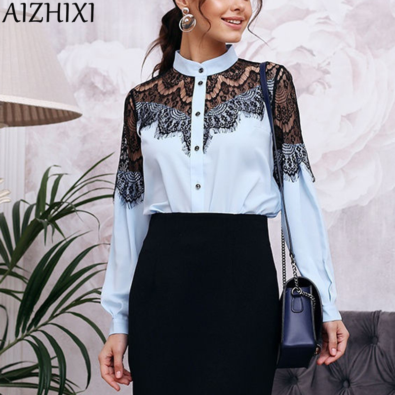 AIZHIXI Fashion Lace Stitching Shirt Women Stand Collar Blouse Autumn Long Sleeve Casual Tops And Blouses Chic Ladies Blusas