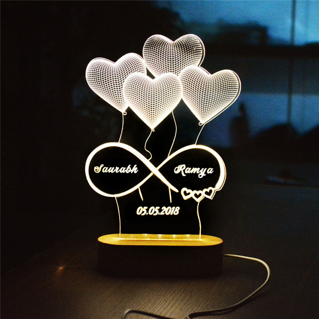 Personalized Name Date 3d Illusion Night Light Heart Shape Custom Names Acrylic Led Lamp For Couples Decorative Lights Wall Lamps Aliexpress