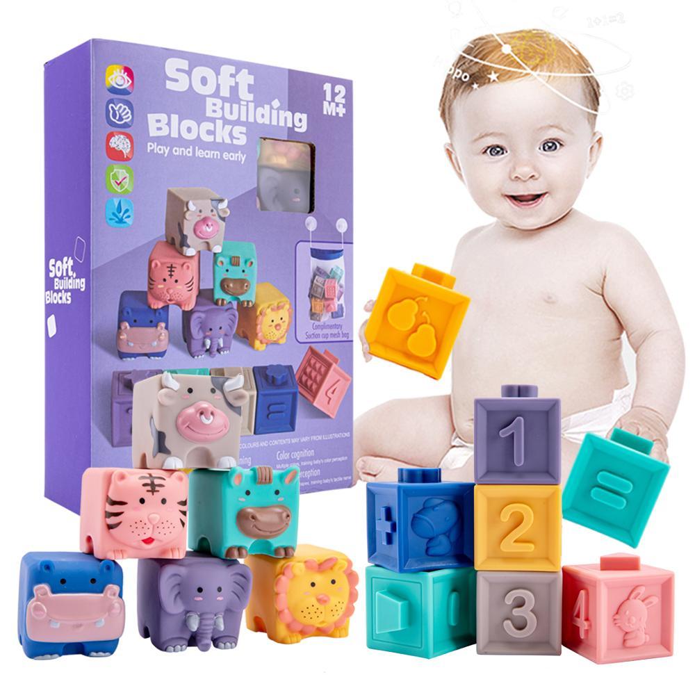 12 шт. в упаковке, Детские сенсорные игрушки строительные блоки Силиконовые Блоки хватать игрушки 3D силиконовые гнущиеся строительные блоки...