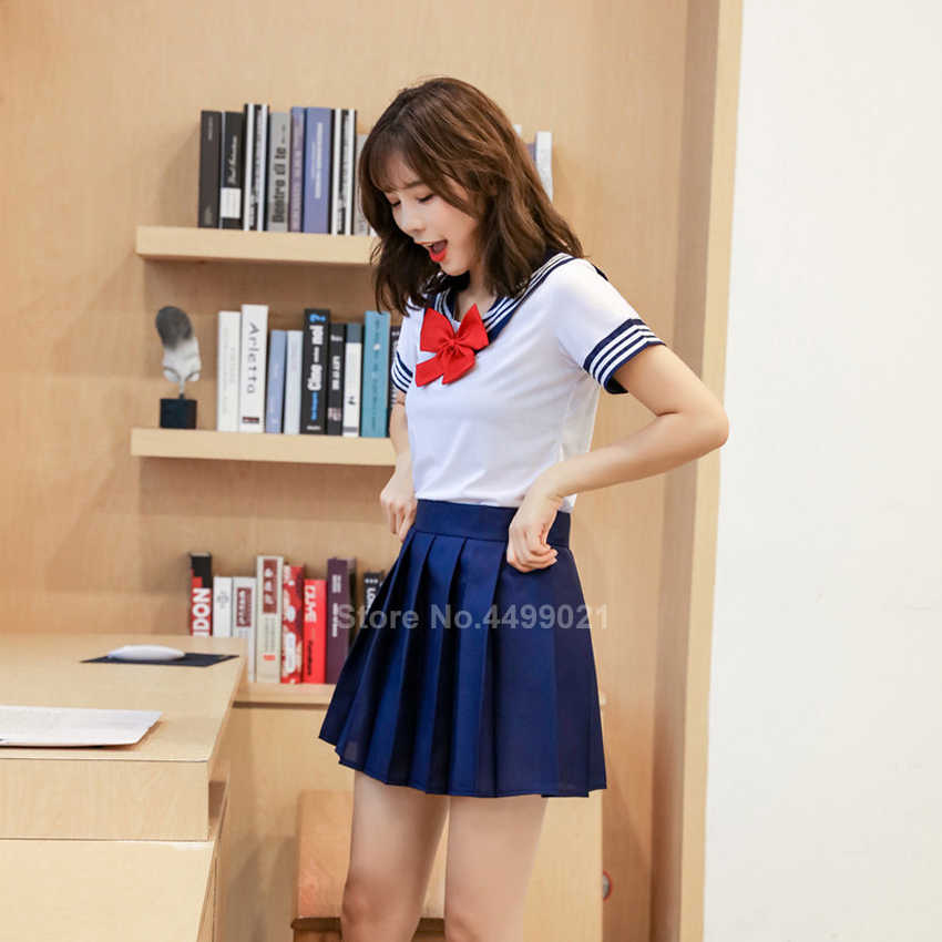 Frau Schule Uniformen Sexy Collage Student Seemann Partei Cosplay Kostüm Japanische Kurzarm JK Anzug Mädchen Plissee Rock