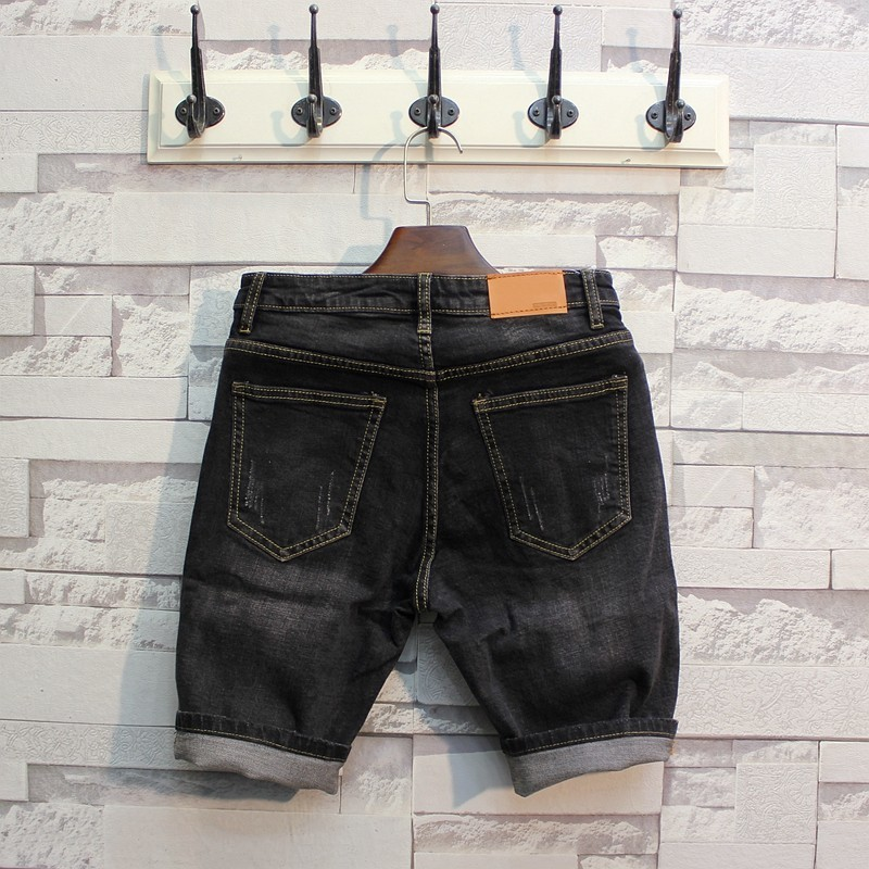 Summer Men Slim Denim Cargo Shorts Casual Retro Ripped Stretch Shorts Teenager Fashion Knee Length Jeans Beach Shorts Plus Size