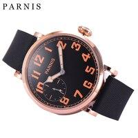 46mm Parnis 기계식 손목 시계 로즈 골드 스테인레스 스틸 케이스 블랙 다이얼 남자 시계 오렌지 숫자 손목 시계 남자 시계