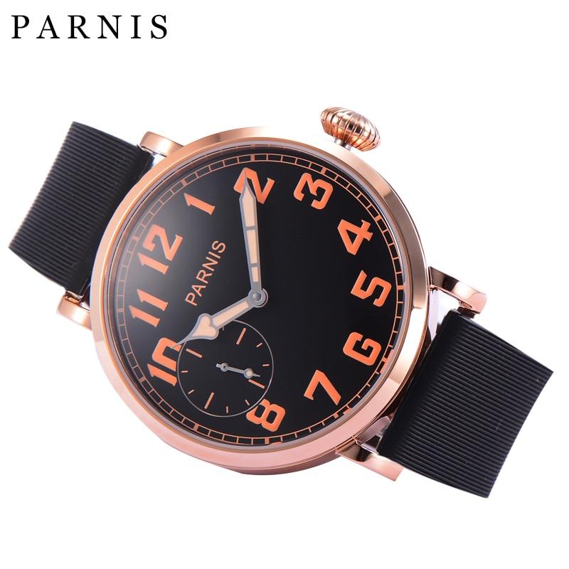 46mm Parnis Mechanische Armbanduhr Rose Gold Edelstahl Zifferblatt Schwarz Männer Uhren Orange Zahlen Hand-Wickel Männer der Uhr