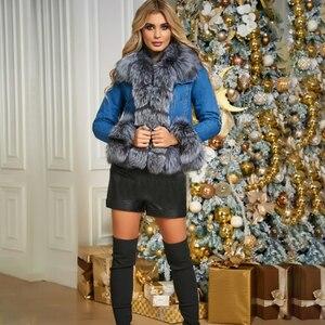 Image 2 - Женская куртка из натурального меха BFFUR, Модная Джинсовая парка с отделкой из лисьего меха, теплая зимняя парка с мехом, 2020
