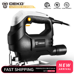DEKO 350W Jig Saw Convenient Continuous Mode Electric Saw with 1pc Blade, Allen Wrench 2pcs Carbon Brushes Jigsaw Power Tools