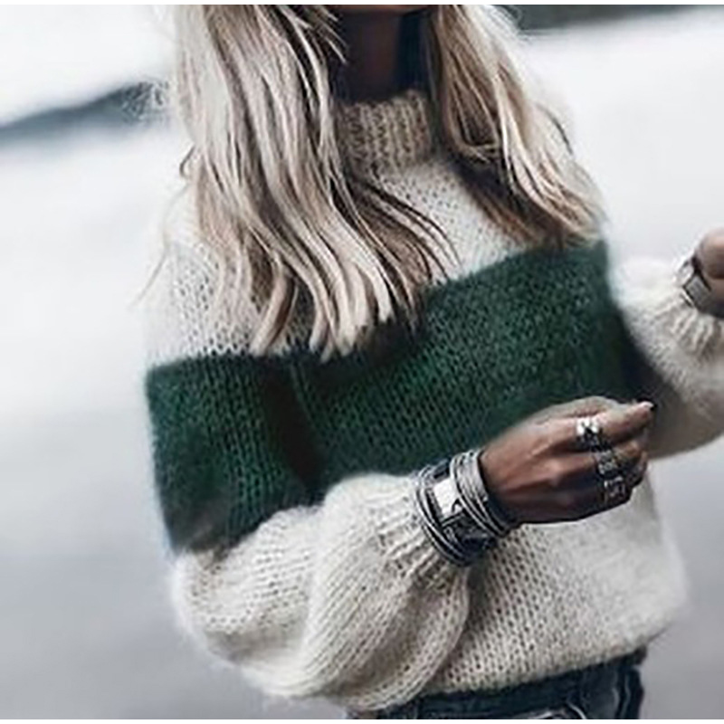 Autumn Winter Women's Loose Knitted Sweater Long Sleeve O-Neck PatchWork Pullover Sweaters For Female 19 Fashion Warm Clothes 5