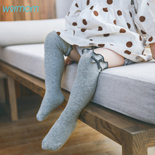 Warmom Baby Girls Bowknot Cotton Knee High Socks Cute Child Anti-mosquito Solid