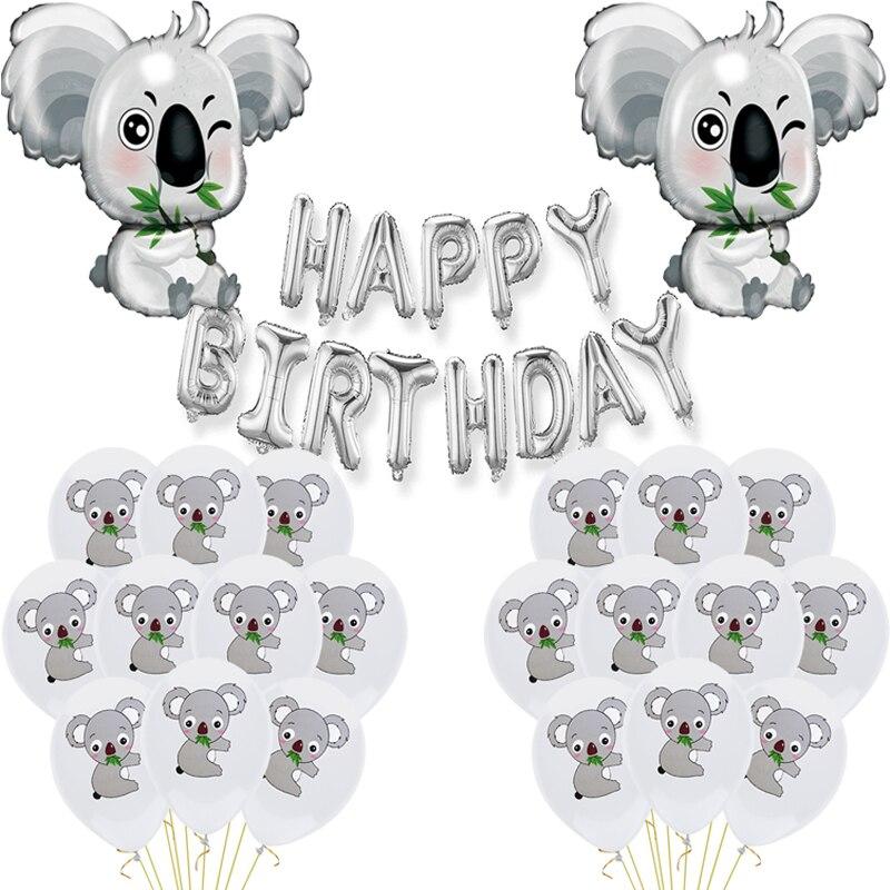 1 Набор сафари Животные Шар любимчика серый воздушные шары для серебро с днем День рождения украшения игрушки для детей Симпатичный Большой коала