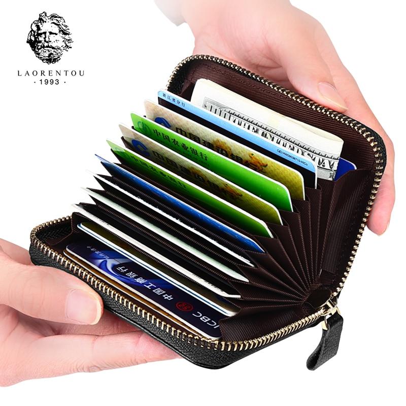 Laorentou homme porte-carte Standard portefeuille cuir de vache porte carte bancaire multi-fonction orgue carte fermeture éclair porte-carte de crédit