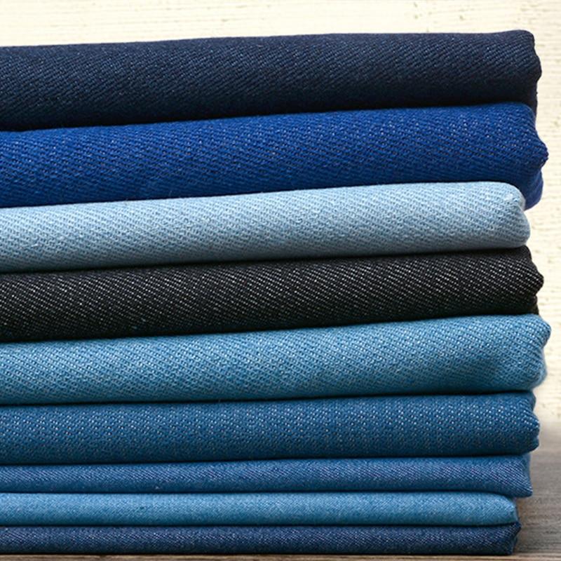 100% хлопок хлопчатобумажная джинсовая ткань Деним Густая зима джемперы, рубашки, платье с лямками, летняя джинсовая одежда тонкие Лоскутная ...