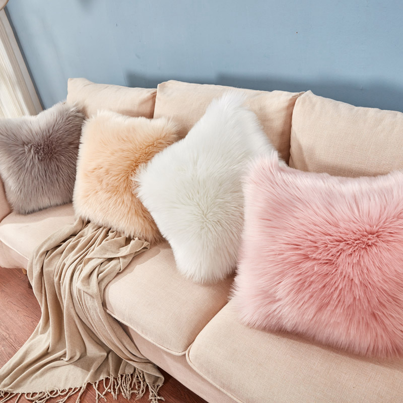 Luxury Series Style Faux Fur Throw Pillow Cover Cushion Cover Sofa Pillowcase Bedroom Car Home Decorative Nordic