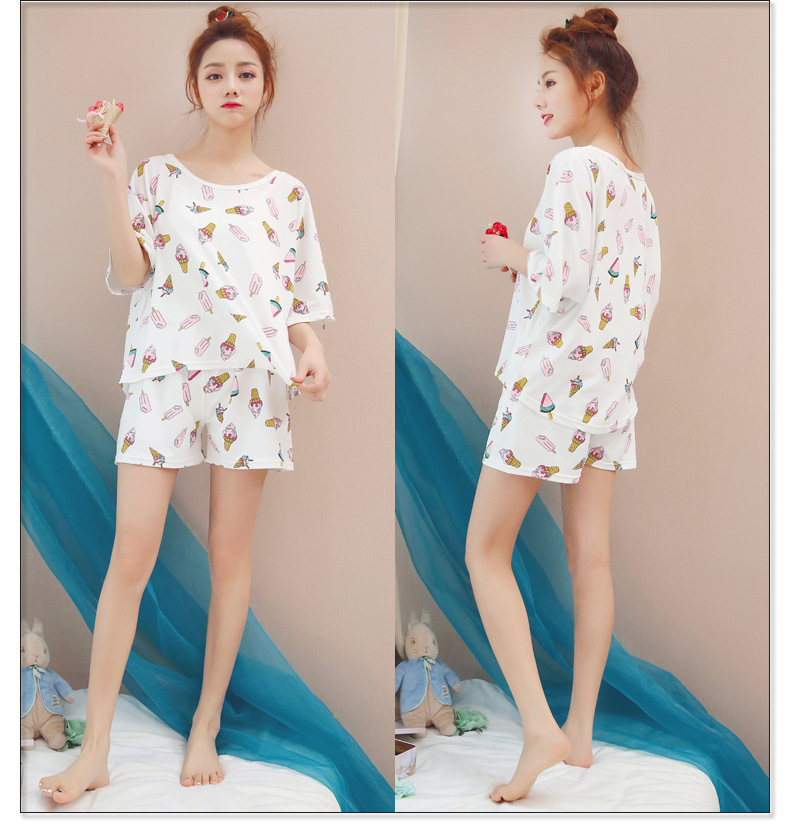 Ice Cream Short Sleeve Pajamas Women's Summer GIRL'S Cute Korean Summer Thin Section Cartoon Women's Home Wear Shorts Set