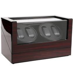 Rotator Winder Box na 4 automatyczne zegarki mechaniczne nowy Retro drewniany pojemnik do przechowywania zegarki akcesoria witryna z drewnianym pudełkiem
