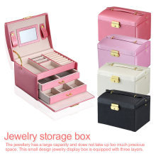 Jewelry Storage Box cosmetics necklace storage box Leather Three-layer Double Drawer bracelet