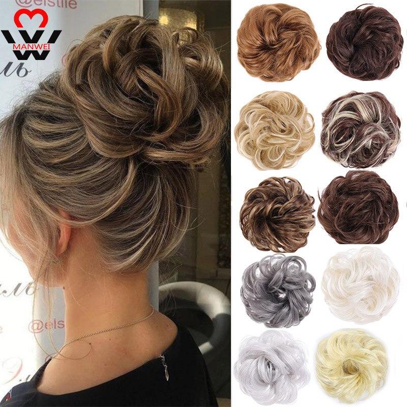MANWEI Synthetic Hair Bun Chignon Ladies Ponytail Hair Extension Scrunchie Elastic Wave Curly Hairpieces Scrunchie Wrap