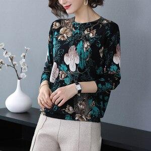 Image 2 - YISU Pullover Frauen O hals langarm warm Halten Pullover 2019 Herbst Winter Neue mode blume muster Gedruckt pullover Frauen