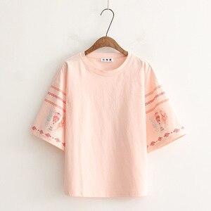 Moda mujer camiseta letras impresas 100% algodón suave camiseta estilo mujer Casual camiseta