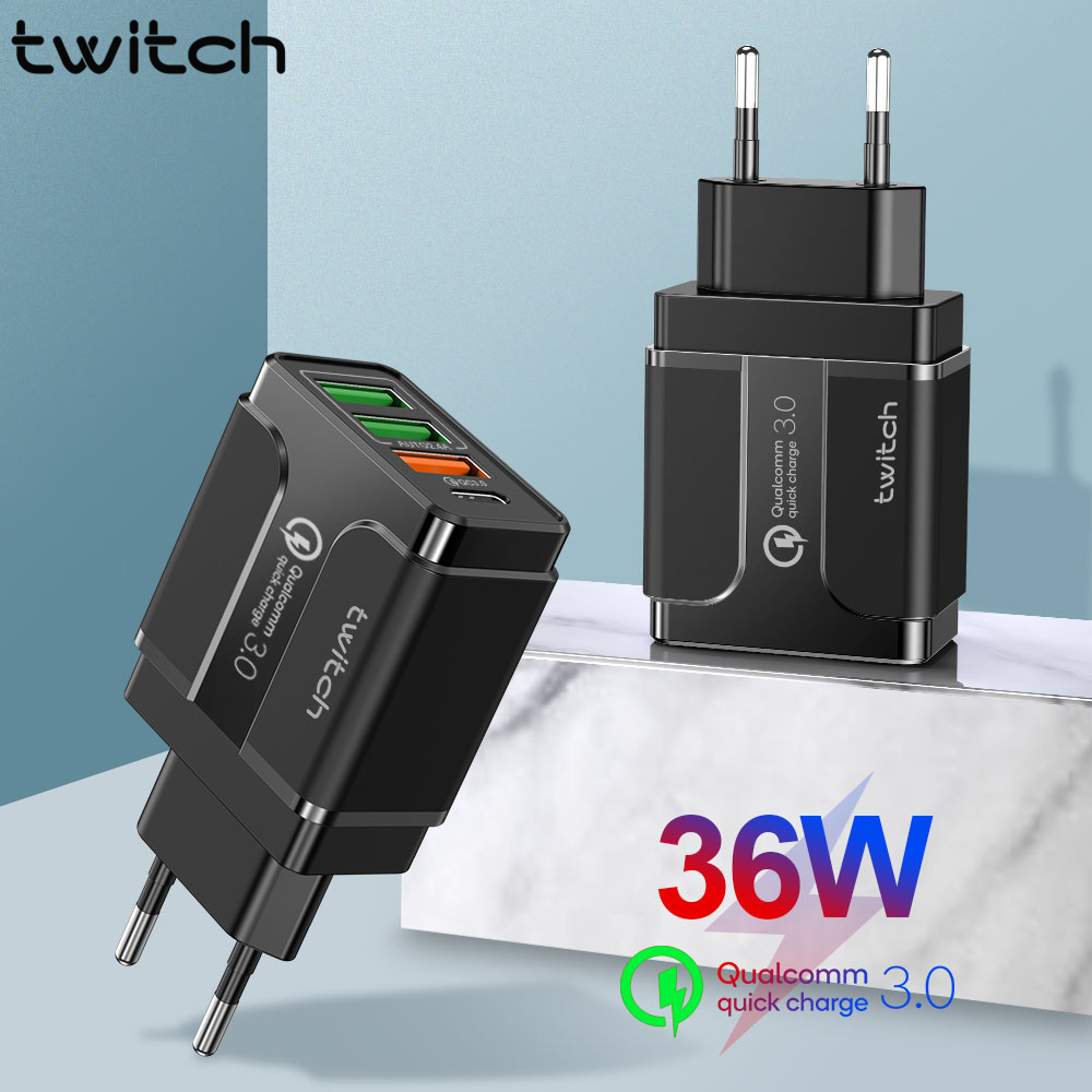 Twitch 3 portas usb carregador de carga rápida 3.0 para iphone samsung xiaomi huawei carga rápida pd carregador para adaptador de carregamento do telefone