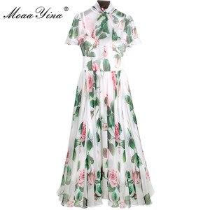 Женское шифоновое платье MoaaYina, дизайнерское подиумное платье с воротником-бантом и принтом роз, элегантное платье для весны и лета
