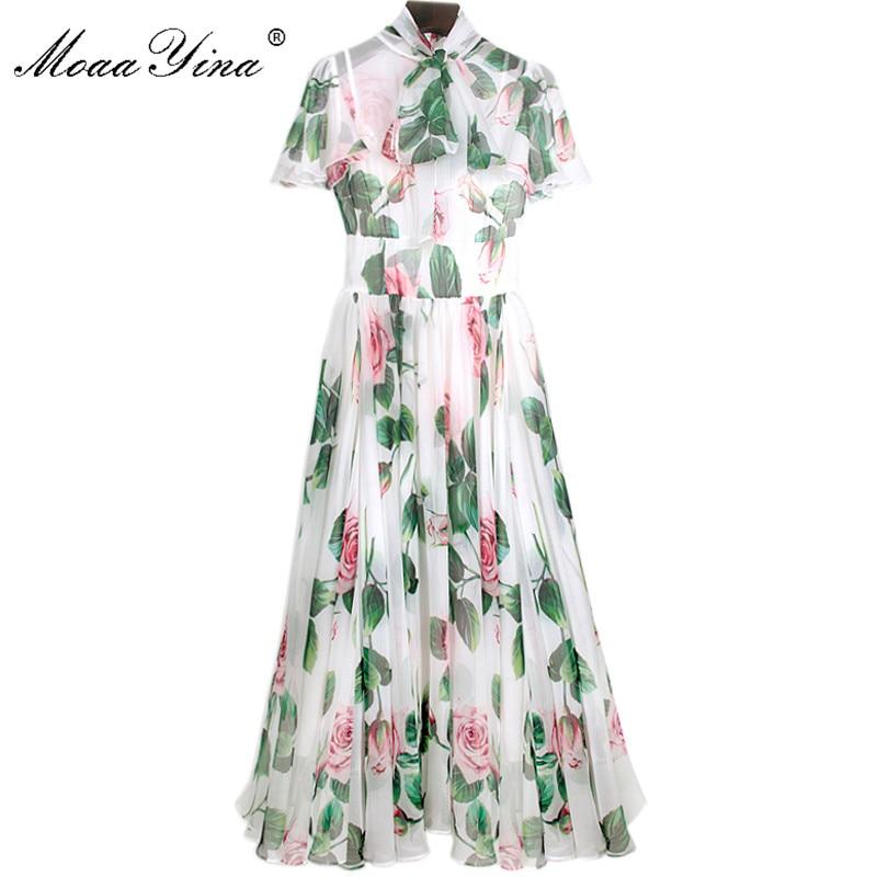 MoaaYina Fashion Designer Runway Dress Spring Summer Women Dress Bow Collar Rose Floral-Print Elegant Chiffon Dresses
