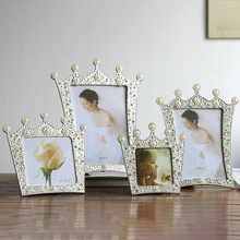 Luxury Cupid White Pearl Crown Metal Photo Frame Wedding Party Family Home Decor Picture Desktop Gift for Friend
