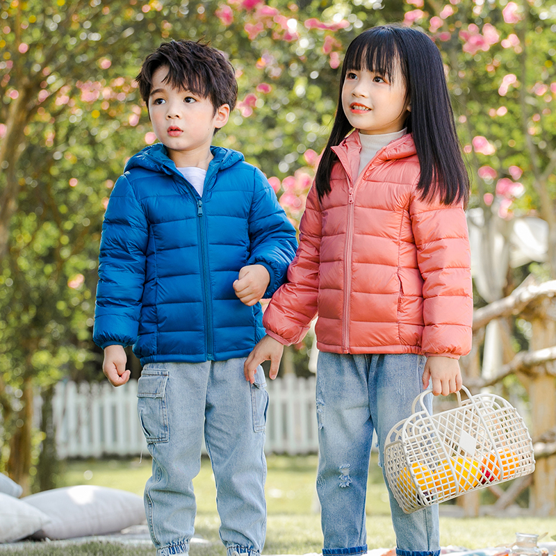 2021 Autumn Winter Hooded Children Down Jackets For Girls Candy Color Warm Kids Down Coats For Boys 2-9 Years Outerwear Clothes 4