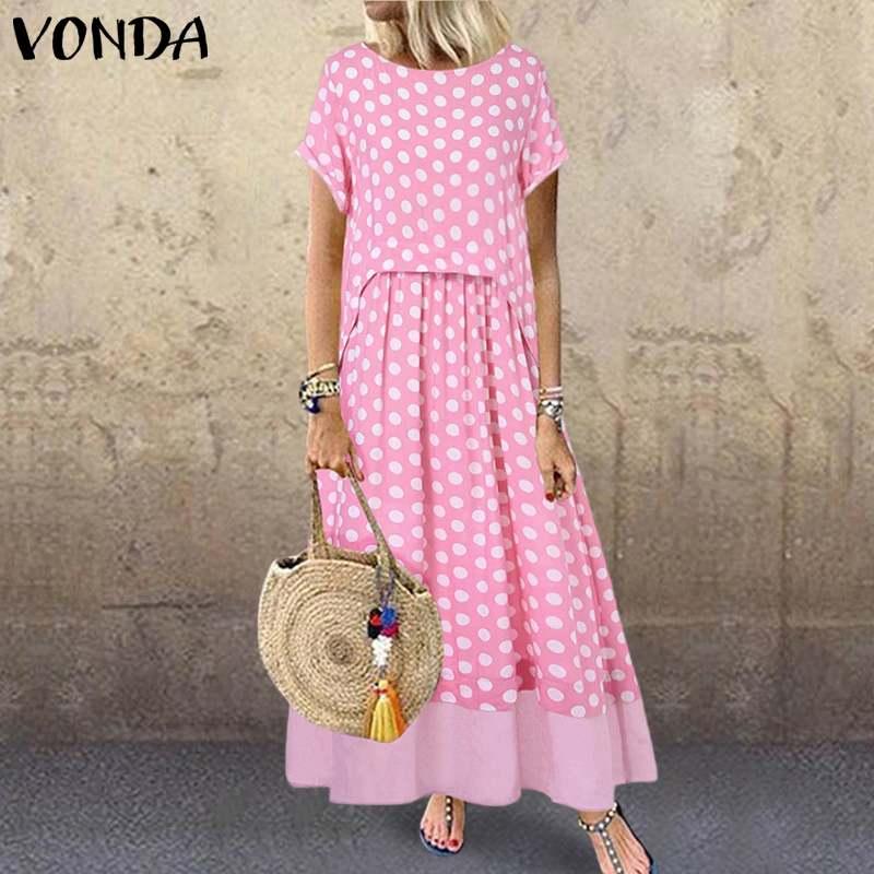 VONDA Summer Long Maxi Dress 2020 Casual O Neck Short Sleeve Vintage Dot Printed Party Dresses Loose Bohemian Sundress Plus Size
