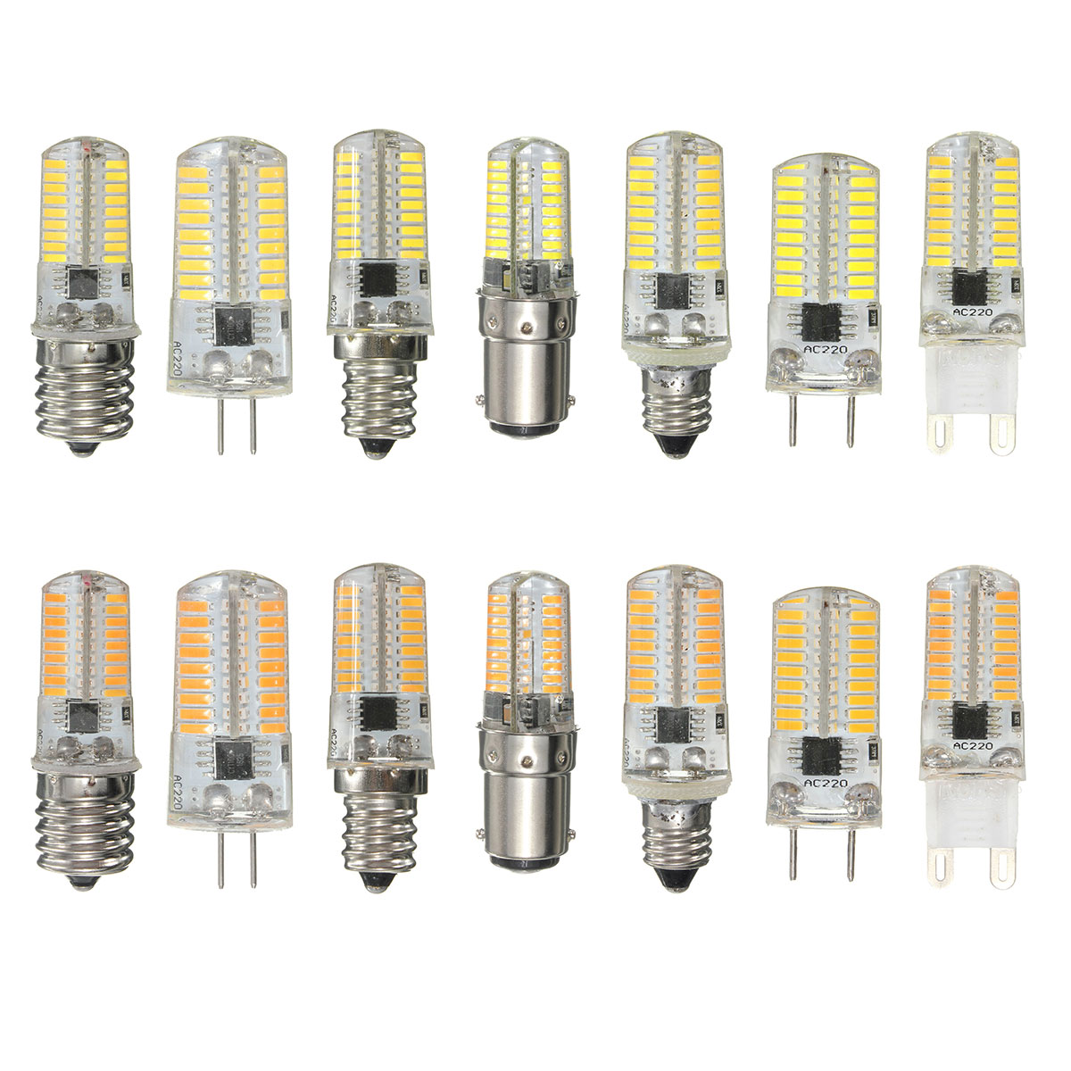 Dimmable LED Bulb BA15D G4 E11 3W 72 SMD 4014 LED Warm White White Silicone Corn Bulb Light AC220V