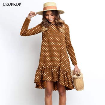 Women Autumn Dress Fashion Polka Dot Chiffon Long Sleeve O Neck Ruffl
