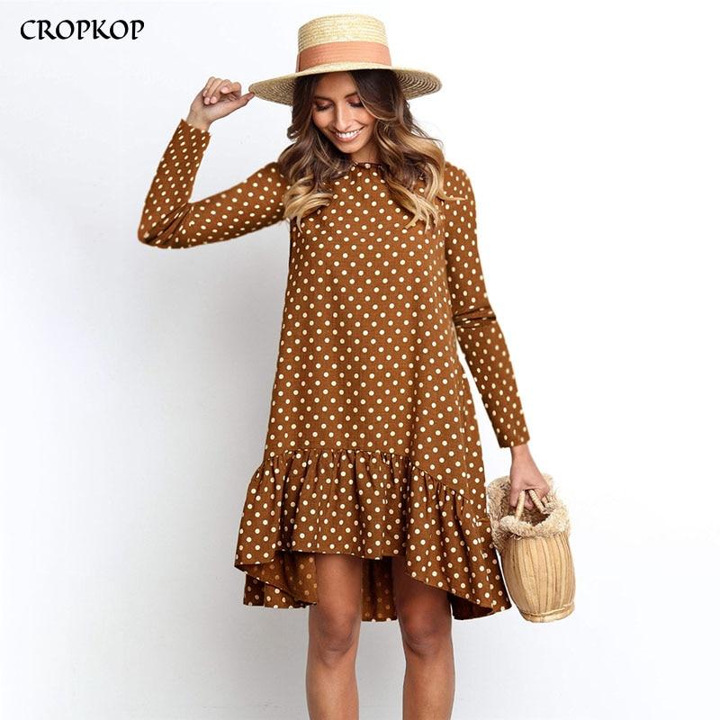 Femmes automne robe mode à pois en mousseline de soie robe à manches longues O cou à volants décontracté jaune robe 2019 rétro Vestido Mujer