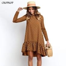 Women Autumn Dress Fashion Polka Dot Chiffon Dress Long Slee