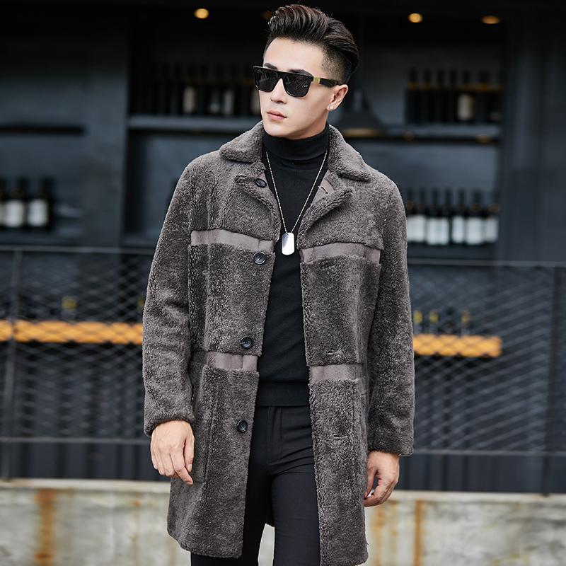 Real Fur Coat Sheep Shearling Men's Winter Jacket Wool Long Coat Plus Size Double Sided Wear Suede Jacket YC1992 KJ860