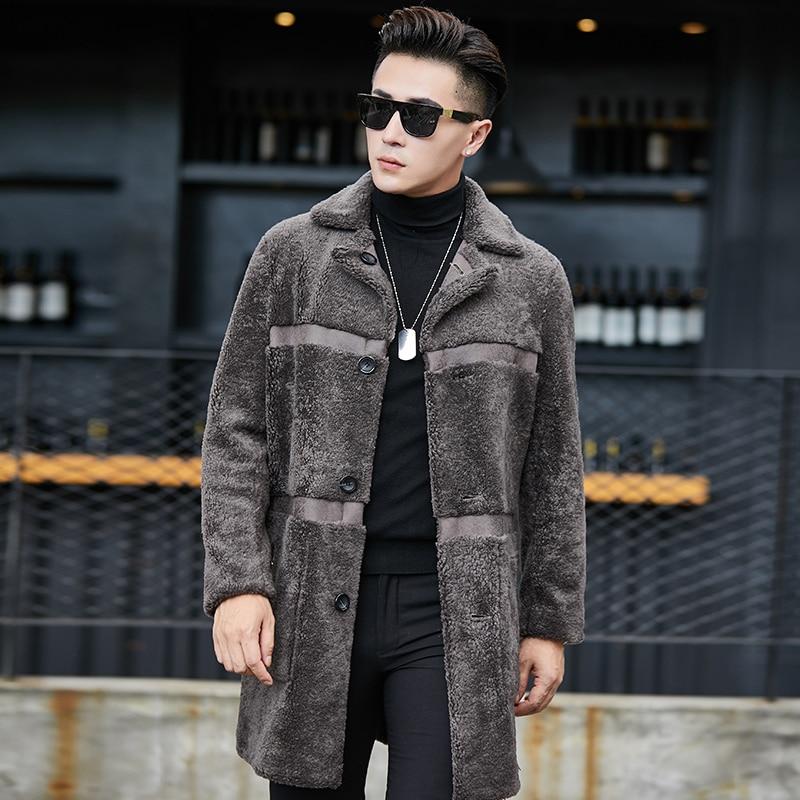 Real Fur Coat Sheep Shearling Men's Winter Jacket Wool Long Coat Plus Size Double Sided Wear Suede Jacket YC1992 KJ860