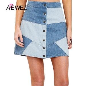Image 1 - ADEWEL Sexy High Waist Skirt Denim Bodycon Long Skirt Office Ladies Wear Women Casual Elegant Pencil Skirt Party Denim Skirt