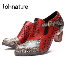 Ladies Shoes Pumps Women Round-Toe High-Heels Retro Hollow Genuine-Leather Casual Zip