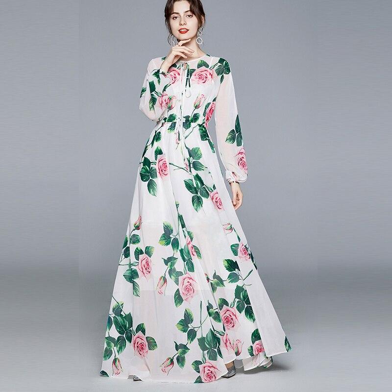 Banulin Summer Fashion Runway Boho Maxi Dresses Women's Long Sleeve Rose Flowers Print Elastic Waist Holiday Elegant Long Dress