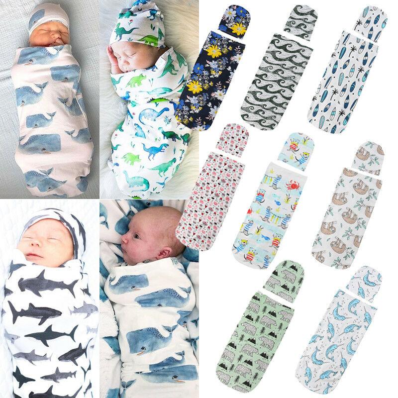US Newborn Baby Cute Swaddle Blanket Sleeping Swaddle Muslin Wrap+Hat+Headband