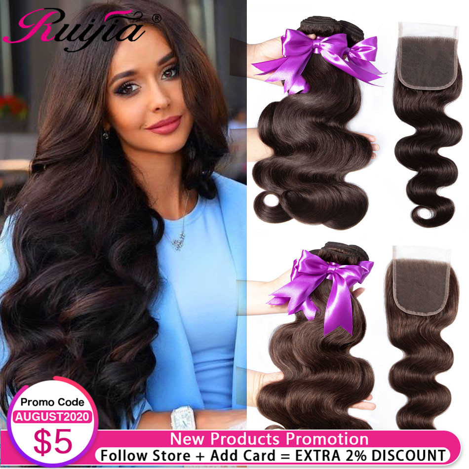 Indian Bodywave Bundles With Closure 3 Bundles With Closure Brown Body Wave Bundles With Closure Human Lace Bundles And Closure