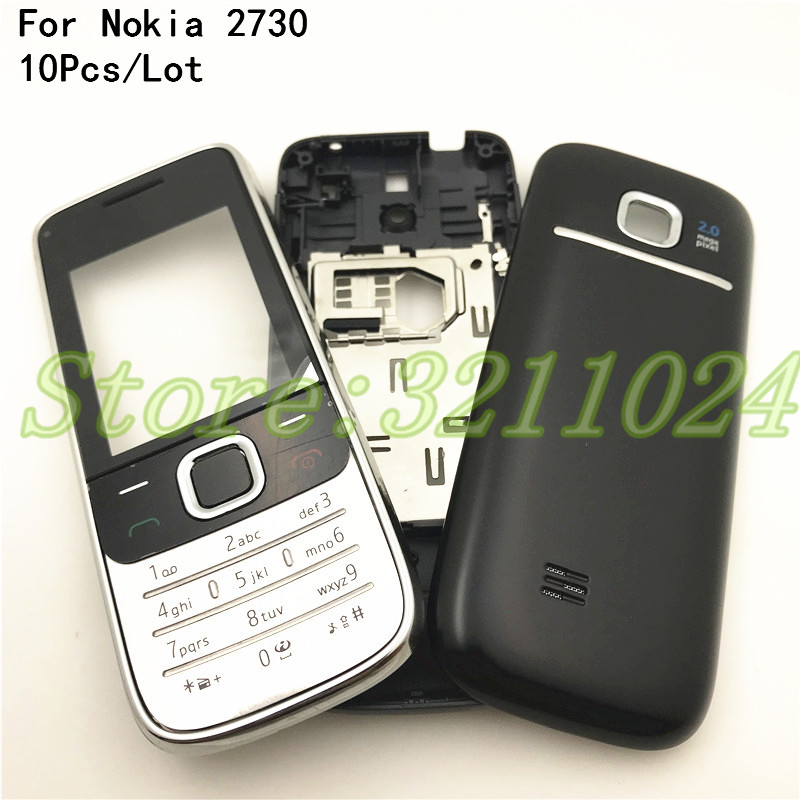 10Pcs/Lot Full Housing For <font><b>Nokia</b></font> 2730C <font><b>2730</b></font> Front Faceplate Frame Cover Case+Back cover/battery door cover+Keypad+Logo image