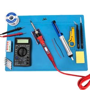 Image 1 - 80W elektryczna temperatura lutownicy regulowana 220V 110V lutowanie spawanie żelaza stacja lutownicza zestaw żeliwa lutowniczego akcesoria