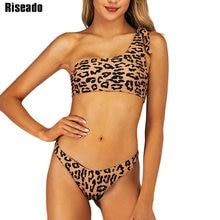 Riseado One Shoulder Swimwear Women Leopard Printing Bikinis Push Up Swimsuits Beach Wear Sexy Brazilian Summer
