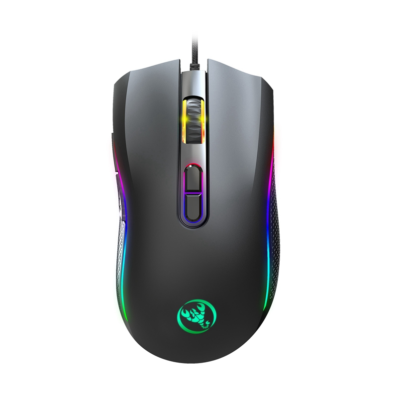 Hxsj A869 Rgb Gaming Mouse <font><b>7200Dpi</b></font> 7 Buttons Mechanical Macros Define the Game Mouse Usb Wired Mouse for Pro Gamer image