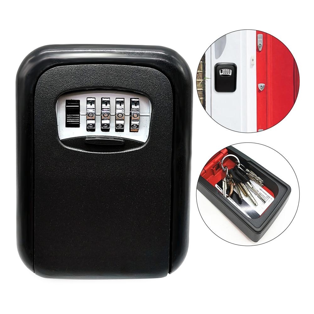 Wall Mounted Lock Box Key Storage Lock Box 4-Digital Combination Lock Box Key Safe Box Security Key Holder Cofre Caja Fuerte