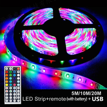 5/10/20M RGB LED Strip Light for Home SMD USB LED Strips Flexible RGB Tape Night Lamp Ribbon Light with Battery Controller + USB