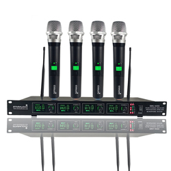 STARAUDIO 4 Channel UHF Wireless Microphone System 4CH Handheld Church Mic For DJ Stage Club Bar Karaoke Wedding Party SMU-4000A