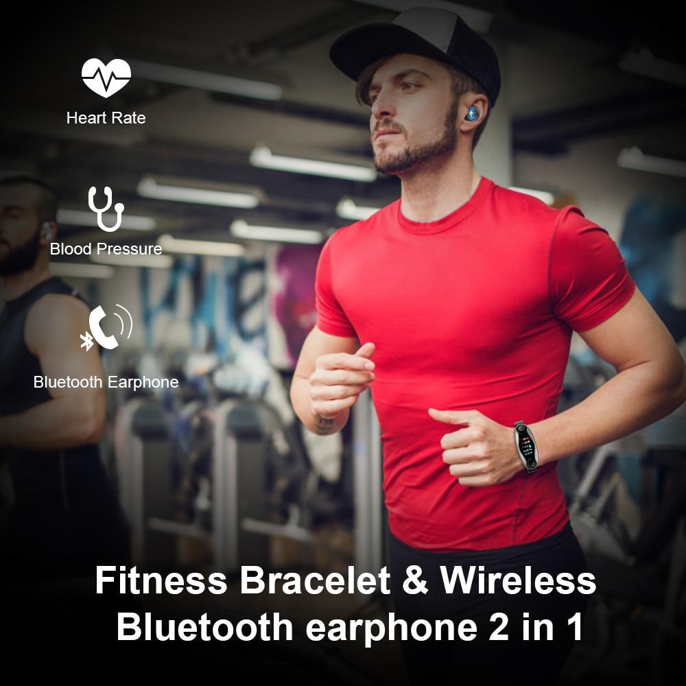 Femperna Wireless Headphones Double Bluetooth Earub Earphones Answer Call Breath Light Fitness Smart Band Wristband Smart Watch - 2
