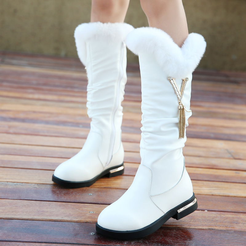 Children Genuine Leather Snow Boots Gilrs Over-Knee High Fashion Boots Cute Princess Warm With Natural Rabbit Fur Boots