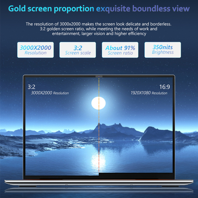KUU YOBOOK All Metal 13.5 Inch 3K IPS Screen Intel Pentium Quad Core Laptop Backlit Keyboard Windows 10 Student Office Notebook 2