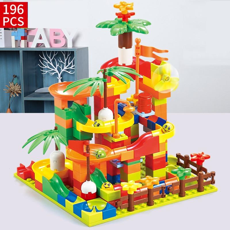 330PCS Small Size Track Blocks Marble Race Run Maze Ball Track Building Blocks Set ABS Assemble Funnel Slide Bricks Toys Gift