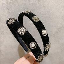 Модные роскошные бархатные черные стразы головная повязка для